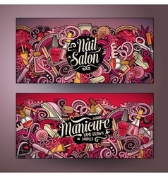 Cartoon cute doodles nail salon banners vector