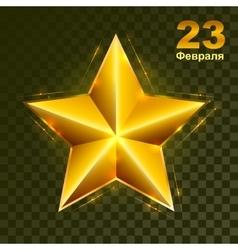Gold star on transparent background defender of vector