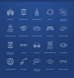 Ophthalmology eyes health care line icons vector