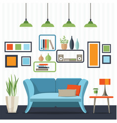 Living room with sofa and small table vector