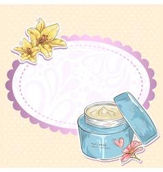 Skincare make-up cream jar isolated card vector image