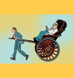 businessman rickshaw carries a wealthy client vector image