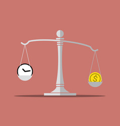 Time and money on balance scale vector