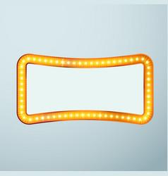 Bright glittering retro cinema bulb frame sign vector