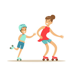 Smiling woman and boy roller skating mom and son vector