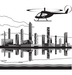 Sightseeing helicopter tour vector