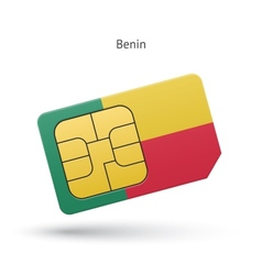 Benin mobile phone sim card with flag vector