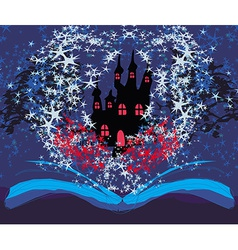 Magical castle with book vector