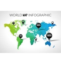 3d world map with points and percantage vector image