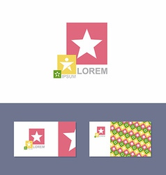 Icon logo design element with business card vector