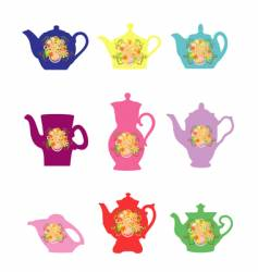 Teapots with a flower pattern vector