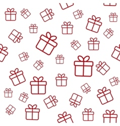 Seamless white pattern with red gift boxes vector