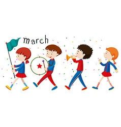 School band marching on the road vector