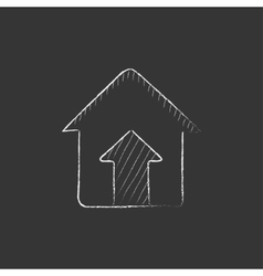 Growth of real estate market drawn in chalk icon vector