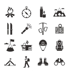 Mountain climbing black white icons set vector