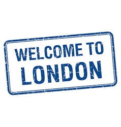 Welcome to london blue grunge square stamp vector
