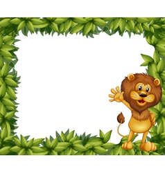 A green leafy border with a lion vector image