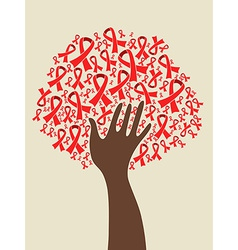 AIDS ribbon hand tree vector image vector image