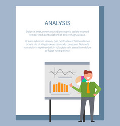 analysis poster with businessman standing at board vector image