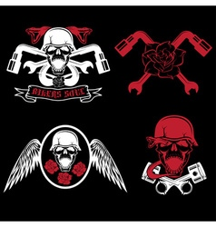 Biker theme labels with pistonsflowerswingssnakes vector