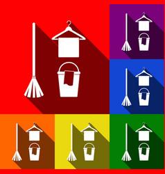Broom bucket and hanger sign set of vector
