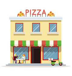 Cafe building facade customer pizza serving dish vector