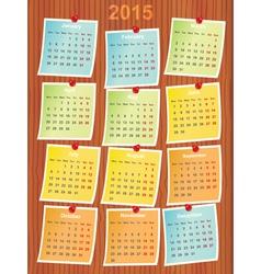 calendar 2015 on notes vector image vector image