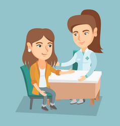 Caucasian therapist doctor consulting patient vector