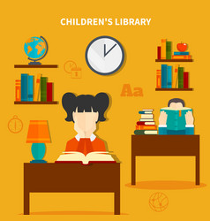 Childrens library composition vector