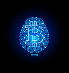 Crypto currency bitcoin on brain background vector