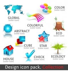 Design 3d color icon set vector