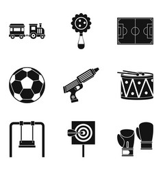 entertainment for boys icons set simple style vector image vector image