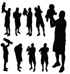 Father with baby silhouette vector