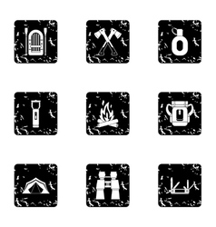 Forest icons set grunge style vector
