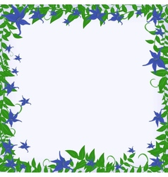 frame with blue flowers vector image