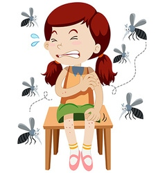 Girl being bitten by mosquitos vector image