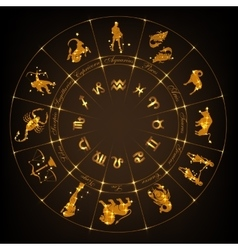 Gold horoscope circle vector image