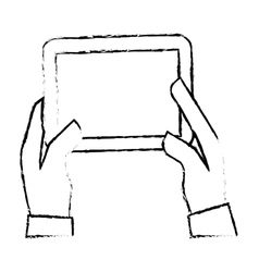 Hands holding tablet icon image vector