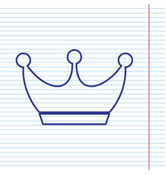 King crown sign navy line icon on vector