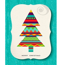 Merry christmas pine tree design in fun colors vector