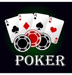 Poker symbol with aces and gambling chips vector image vector image