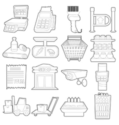 Supermarket items icons set outline cartoon style vector