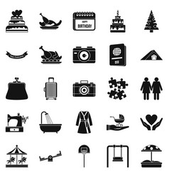 Supper icons set simple style vector