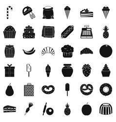 sweet candy icons set simple style vector image