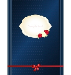 Vintage greeting card template with red bow vector