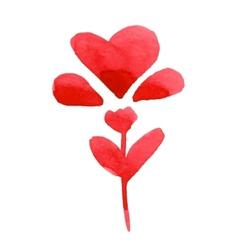 Watercolor heart flower vector