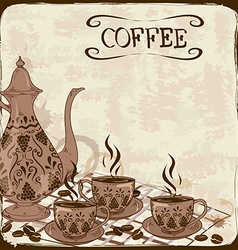 with coffee pot and cups vector image vector image
