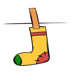 Yellow sock icon cartoon vector