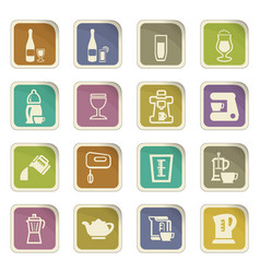 Utensils for the preparation of beverages icons vector