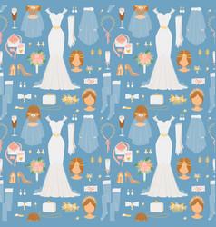 wedding bride dress elegance style and wedding vector image